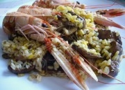 arroz con setas y cigalas