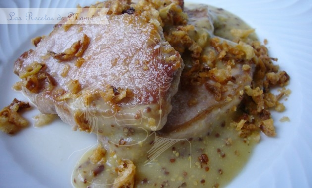 Lomo con crema de mostaza