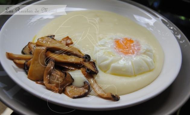 Crema de patata con salteado de setas de cardo y huevo poché