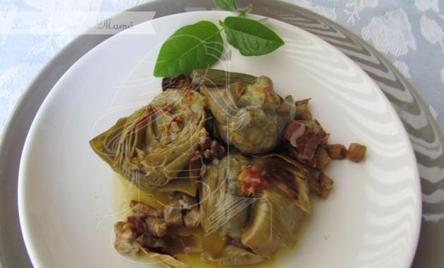 Alcachofas a la montillana con secreto ibérico y jamón