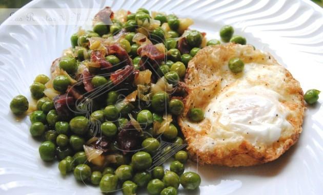Guisantes salteados con jamón – video receta