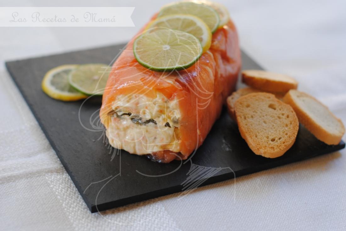 Rollo de salmón ahumado