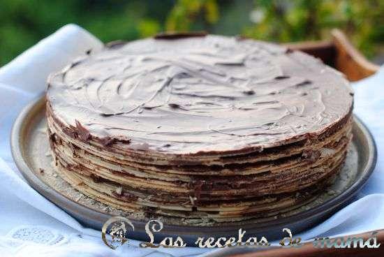tarta de obleas y crema de cacao