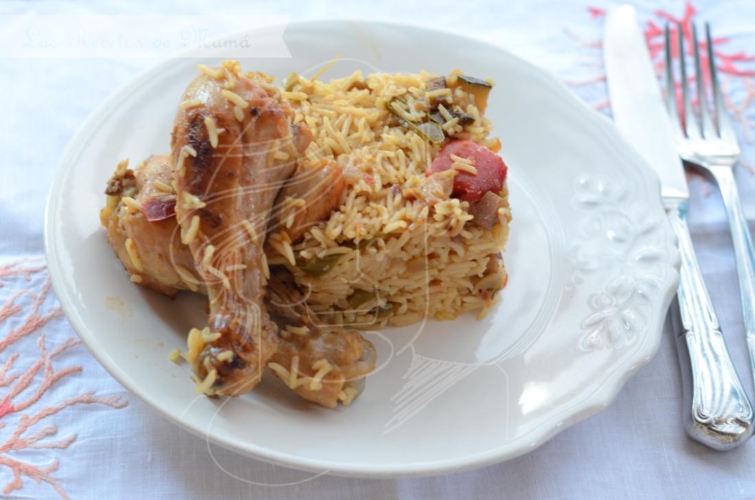 Arroz basmati con pollo y verduras