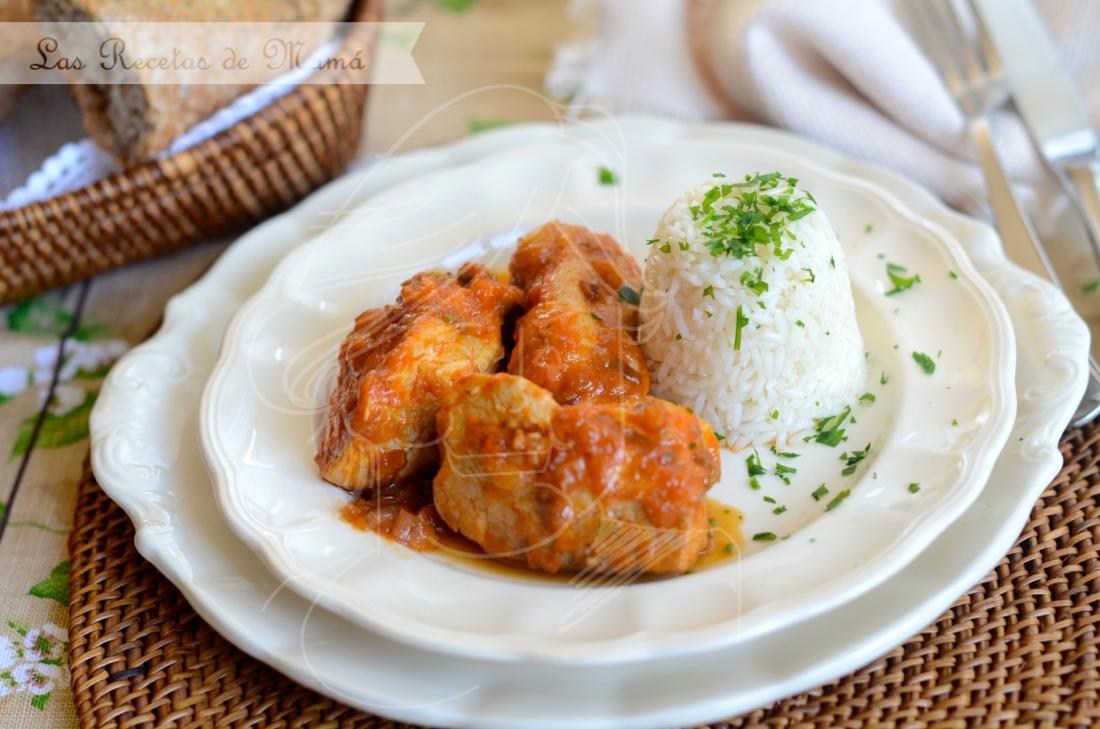 Pollo con salsa de verduras