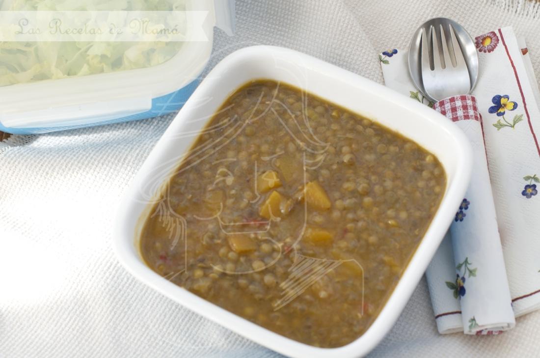 Potaje ligero de lentejas con verduras y calabaza