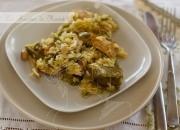 Arroz con pollo, setas y verdura de temporada