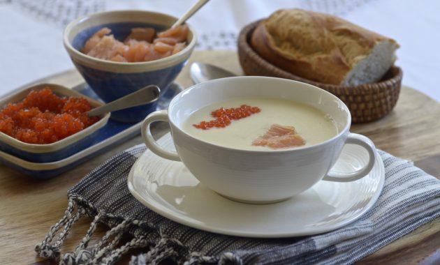 Crema de patatas con salmón. Video receta